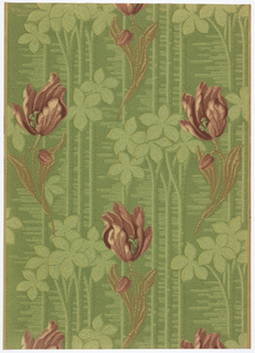 Tulips on curved stem and oblong leaves vertically designed with five leaf foliage between the flowers. Vertically striped background, with vermicelli fine lines and pin dots covering the background. Printed in shades of red, green and beige.