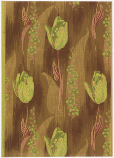 Tulips on long stems with winding leaf. Vertical stem with small flowers. Flat oblong leaves and a wooden texture fill the background. Printed in shades of red, black, olive, brown, green and yellow.