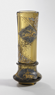 "Tall cylindrical vase of greenish-brown transparent glass. Flat base, with swelling lower section, curved inward to semi-round collar of applied glass. Above collar rises elongated cylinder, slightly flattened and with pronounced curve. Rounded lip, with cut reveal. Lower body section enameled with stylized flowers in black, blue, and gold, surrounding lozenge-shaped reserve panel with enameled and gilded depiction of Persian warrior on horse, against azure blue ground. Upper portion of body with diagonally placed band of enameled decoration extending from base collar to lip; painted with blue letters against black stripes: ""Rien Sans Amour,"" in pseudo- Kufic script."