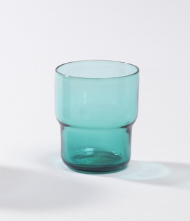 Transparent aqua glass stepped cylindrical tumbler.