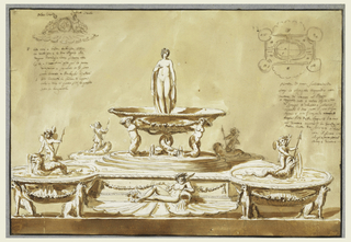 "Intended to be executed in silver.  Shown from above. The plan is in the upper right corner.  The scheme is that of a fountain with an oblong basin with circular, obliquely disposed bowls at the corners.  Three sitting griffins support each of the three bowls which the support the fountain.  In front of the straight central parts are a stream god lying upon a shell, at the back two wind gods sitting upon a shell and supporting a dial which stands between them.  A sketch above, at left, shows this motif.  Written above the figure, at left: ""oleo cento""; at right: ""Zefiro vento"" ""15"" is written in ink, in the upper right corner of the frame, in opposite direction.  In each bowl is a cupid, upon a dolphin, from which water pours.  In the center is an ovoid base formed by three steps.  Above it four winged and armless mermaids.  Two dolphins with tails carry a bowl in which ""venus"" stands.  Below is a dark vase stripe.  The background is colored. Letters are written in the plan.  The captions begin below it:  ""Pianta di una scrivania da/farsi in Argento figurando una Fontana di cenere al Bagno.""A"" [both halves of the back of the lower basin] Bagnvola rota p[er] metere sigilli e cera/di Spagna ""B"" [the bowls at the front] piano figura/agva ""C""[the bowl at the back, at left] sito per campanello 'the next word had been struc hout] ""D"" [the bowl at the back at right] [""bugia"" had been struck out] Sito della bugia. ""E"" [in the shell at the front] sito o[ve]e/ untiratore capaco p[er] la grandezza/della carta da scrivere si tira/ via il fiume conchiglia [struck out: ""ove sta il""]fiore e tiratore."" Above, at left: below the sketch is written: ""F"" [in the shell at the back] sito ove la labra conchiglia litica/ la cochiglia e le due Figure che/regano lorologio e sticchia. ""H""[both halves of the front of the lower basin] Il piano/sarra lavorato a Raeschi cisellati/ [ in the upper basin] siti lavorati in forma di acqua/vale a dire li quatro Siti e quello/sotto la bagnarola."" ""15"" is written in ink, in the upper right corner of the frame, in opposite directions."