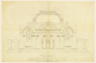 Warren prepared designs for J.P. Morgan's Library, to be located at 36th St. and Madison Ave. His scheme included a richly sculpted pavilion with a large circular hall with radiating reading rooms and offices.