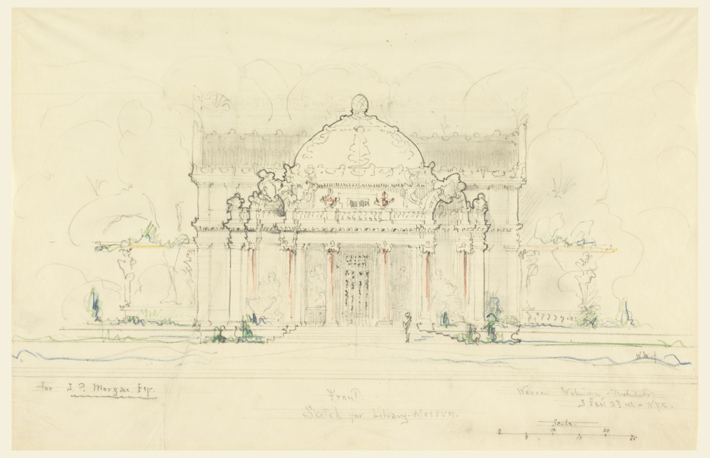 Front view of the elevation of a domed building with four columns flanking a central doorway. 