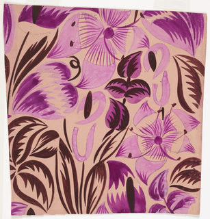 Pattern of tropical flowers in purple and burgundy on a lilac ground.