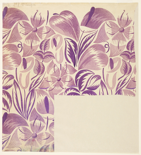Pattern of tropical flowers in purple on a lilac ground; lower right corner missing.