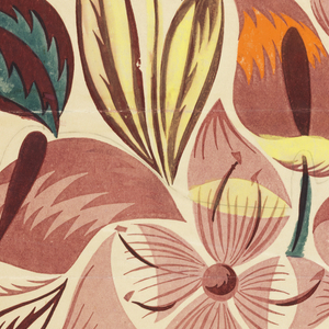 Pattern of tropical flowers in pink, orange, yellow, green, and burgundy on cream ground.