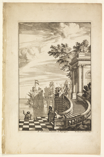 On the right, stairs, with checkered floor and sphinxes, lead to building. On the left, view of the sea, a ship and port, a pier. People visible throughout.