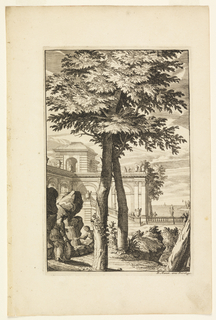At the center, there is a large tree, under which sits a woman holding out a pan for water, next to her, a second woman waiting to fill her amphora with water from a waterfall on the left. The background is composed of architecture and people throughout.
