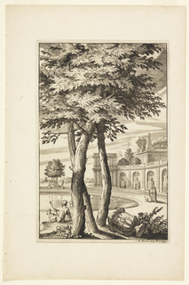 In the foreground, a large tree provides shade for two figures playing with a dog, and an amphora. In the background, an arcade with niches, a body of water, and more figures with a dog.