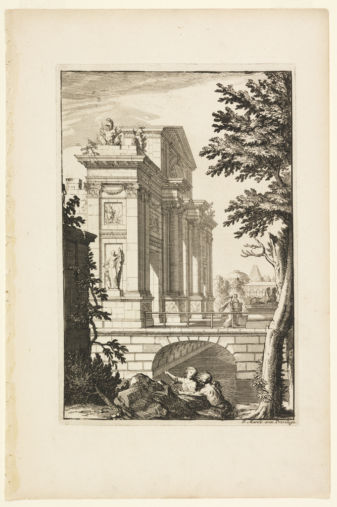 View of a triumphal arch, on a bridge, decorated with statues, reliefs, and garlands. Below, two figures converse.