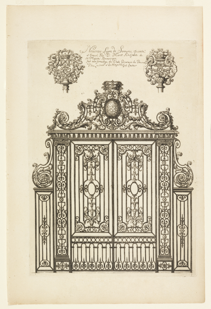 Image of an ornate iron gate; above, two ornate finials flanking text.