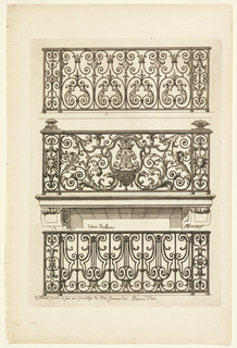 Three variations of ironwork for balconies.