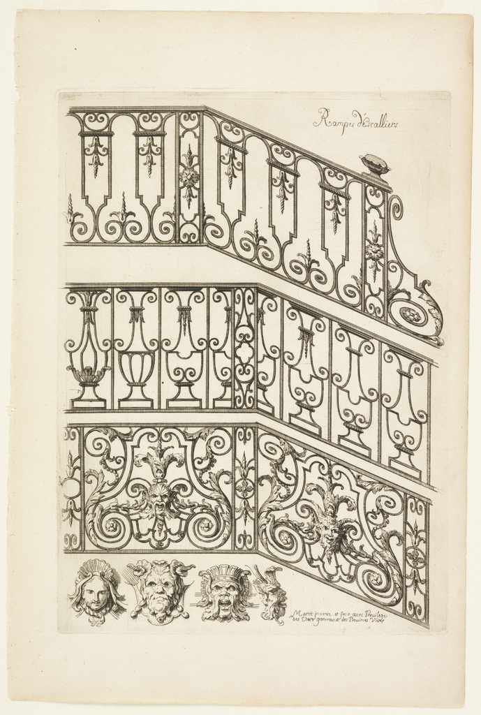Three variations of ironwork for handrails. Below, three mask variations for decoration.