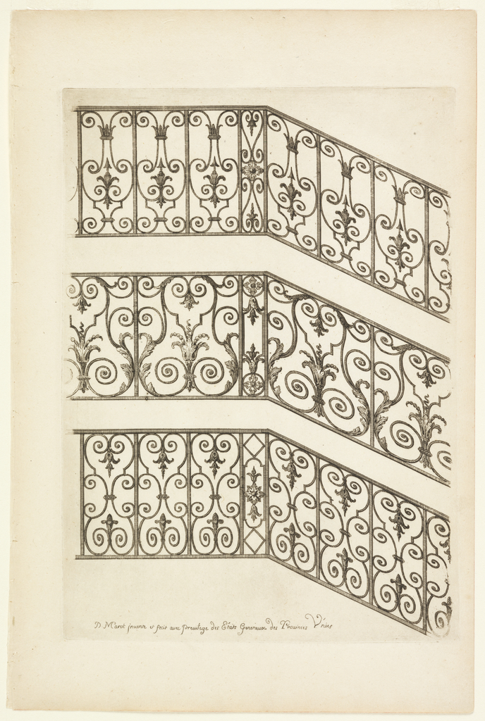 Print, Rampes d'Escalliers (Handrails), in Nouveau Livre de Serrurie (New Book of Ironsmithing)