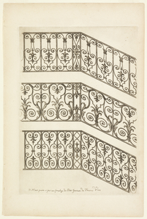 Three variations of ironwork for handrails.