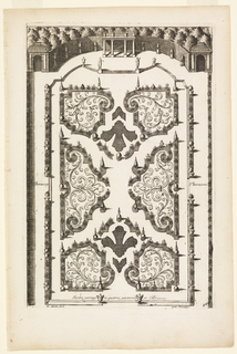 Print, Jardin partage en quatres parterres et Thérasses (Garden Beds and Four Terraces), in Nouveaux Livre de Parterres contenant 24 pensséz diferantes (New Book Containing 24 Different Variations for Garden Beds)