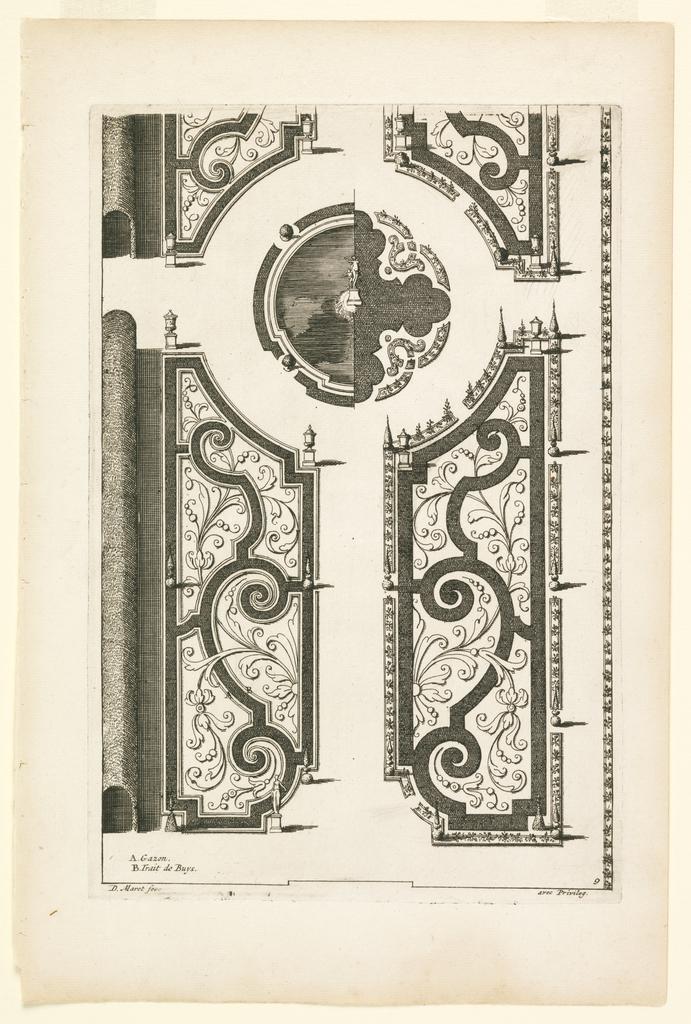 "Print, Design for Garden Parterres with Scroll Motifs and Boxwood Arbor, in ""Nouveaux Livre de Parterres,"" in Oeuvres Du Sr. D. Marot..., The Hague:  Chez Pierre Husson, c.1702"