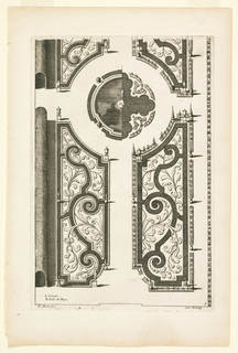 "Print, Design for Garden Parterres with Scroll Motifs and Boxwood Arbor, in ""Nouveaux Livre de Parterres,"" in Oeuvres Du Sr. D. Marot..., The Hague:  Chez Pierre Husson, c.1702"
