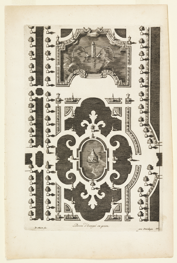 """Print, Design for a Garden Parterre of Cut Grass and Colored Gravel, from """"Nouveaux Livre de Parterres,"""" in Oeuvres Du Sr. D. Marot..., The Hague:  Chez Pierre Husson, c.1702"""
