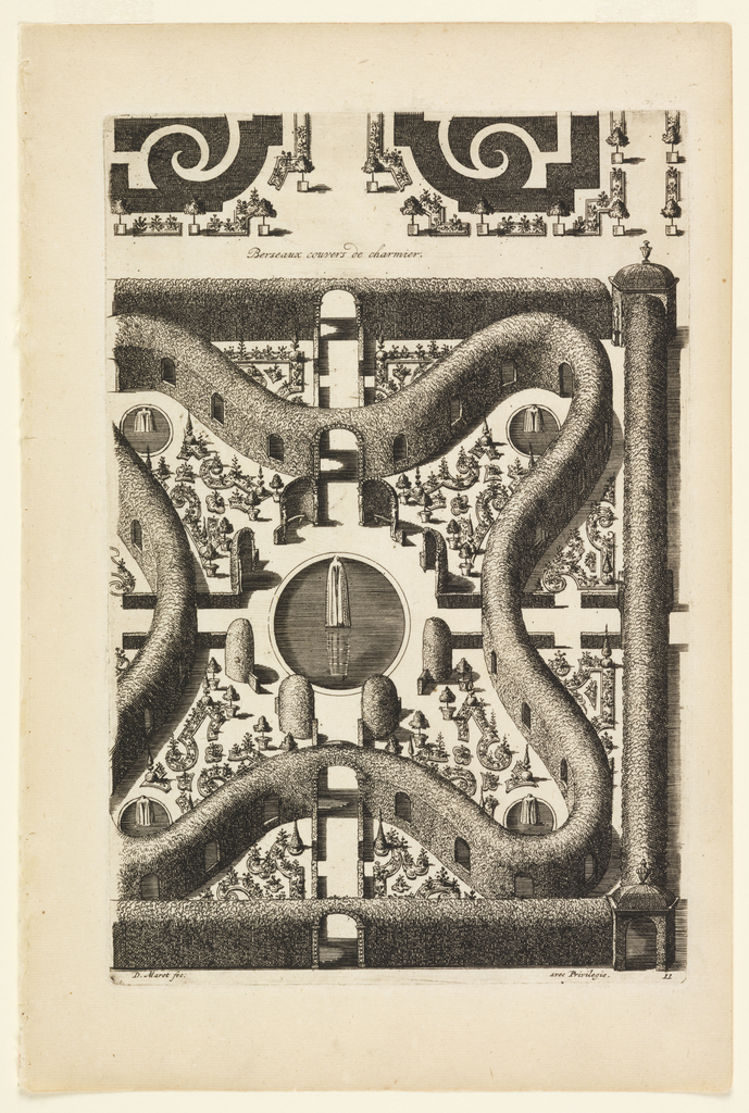 Garden design with four curved points and fountain with statue at center.