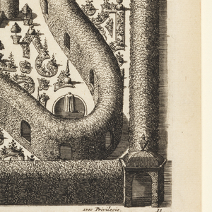 Print, Design for a Garden Parterre of Cut Grass and Colored Gravel, from Nouveaux Livre de Parterres (New Book of Garden Beds) from Oeuvres du Sr.  Marot