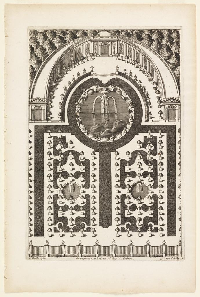 Print, Orangeriee placé en Allées d'Arbres (Orangerie in Tree Paths), in Nouveaux Livre de Parterres contenant 24 pensséz diferantes (New Book Containing 24 Different Variations for Garden Beds)