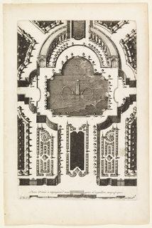 Print, Pieces D'eaux à compagniee d'orangeriée et despalliers, magnifique (Fountain in Garden Design), in Nouveaux Livre de Parterres contenant 24 pensséz diferantes (New Book Containing 24 Different Variations for Garden Beds)
