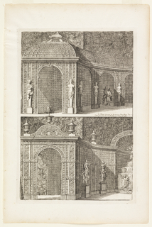 Two designs of arched trellis work; in one a couple is walking through, and in the other there is a fountain.