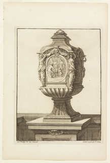 Footed vessel on a pedestal decorated with a cartouche depicting three classical female figures and one putto next to a tree. At each corner of the vessel are draped female caryatids in different poses.