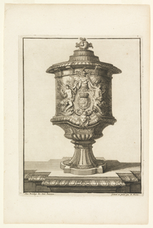 Footed vessel decorated with crowned escutcheon at center, surrounded by robed figures holding drapery.