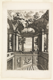 Interior of a colonnaded atrium with oculus, with stairs leading below. It is decorated with classical reliefs and sculpture. Angels on clouds float above architecture.