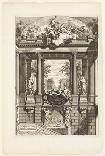 Classical architectural structure with stairs leading below. It is decorated with fluted Corinthian columns, scenes in relief, and sculptures. Draped figures sit at the center; a large group of classical figures on clouds float above.