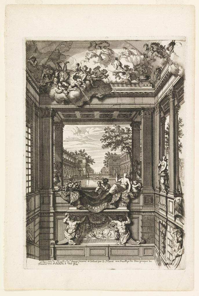Alcove decorated with male and female Classical figures before a planned garden with trompe l'oeil ceiling depicting wind and clouds.