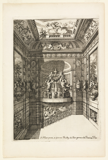 Atrium-like structure with stairs leading below. Large fountain with satyrs and putti in an apsed space. Wall decorated with urns, portrait busts and scenes in relief. Figures on clouds float above.