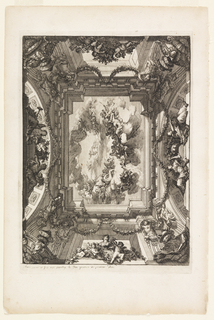 Rectangular painted ceiling in trompe l'oeil effect; with several figures on clouds in the sky. Sculptural figures and garlands cover the area surrounding the sky section. At the bottom, female bust surrounded by putti.