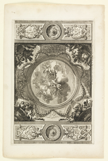 Rounded painted ceiling in trompe l'oeil, depicting figures on clouds in the sky. Garlands surround it, including several putti with different symbols in the corners. At the top and bottom, flanking the central design, a roundel between two cartouches decorated with putti.