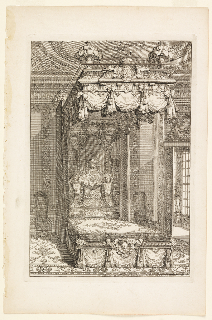 Design for a bedchamber with shell theme and rinceaux.