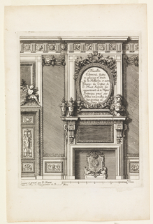 A fireplace decorated with lions flanking an escutcheon with a crowned roundel. Two urns and a bust of a Roman emperor sit on the mantelpiece. Above, oval-shaped cartouche with title and a Doric entablature. Scale below.