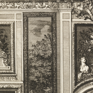 The fireplace is decorated with an escutcheon flanked by two figures. A roundel framed by garlands and a mask over the mantelpiece. Above, a vase filled with flowers between two sphinxes, and a crowned roundel with cornucopia. Left, a panel depicting a landscape with trees and figures. Scale below.