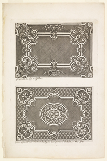 Above, a panel decorated with a curved frame and rinceaux; below, a panel decorated with a central roundel and curved framing; corners made up of flowers.