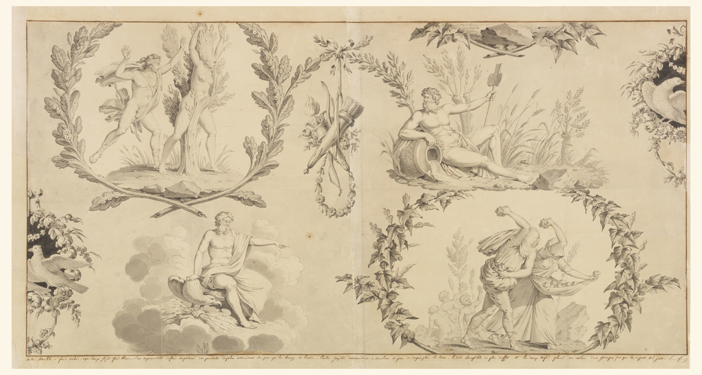 Horizontal rectangle. A design composed of four vignettes separated by wreaths: upper left, Apollo and Daphne (personifying Air); lower left, Jupiter and an eagle (personifying Fire); upper right, a river god (personifying Water); lower right, Deucalion and Pyrrha (personifying Earth).  In center, a trophy composed of a torch, bow and quiver suspended from a garland, and a pair of doves appears at the repeat horizontally.  Wreaths encircle the vignettes showing Air and Earth.