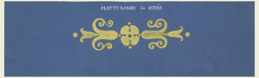 The repeat consists of two calyxes with blossoms horizontally disposed to blossom rosette. Four petals are sketched with graphite. Obverse is colored blue.