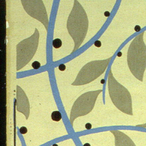 Printed for Nancy McClelland of New York City. A stylized continuous vine in blue with flat gray-green leaves and black berries. Same design as 1945-3-8. Printed in green-gray, blue and black on sage green field.