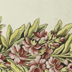 Lower left corner, short flower stems are obliquely shown. They form horizontal and vertical borders together with leaves and blossoms.