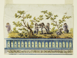 Repeat consists of group of three girls and boy, dancing, and two boys playing marbles. Trees, plants. Lower margin, frieze transposing triglyph motif into rail and garland.
