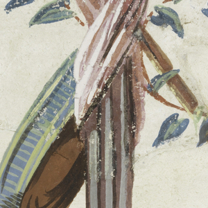 On left, bottom of a banner staff with pink sash wrapped with branch with leaves, a lit torch, and tambourine. On right, a lit brazier decorated with mermaids and shell.