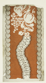 Block printed design in orange with flowers, rinceaux, and fruit.