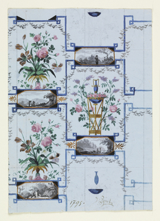 Design for wall-paper of the Directoire period, combining elements of panel wall-papers and simple repeating wall-papers. Landscape vignettes in grisaille are combined with large floral arabesques.