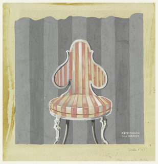 A chair with pink and tan stripes with its back against a wall, striped in two shades of gray. At lower right in white, name of the company