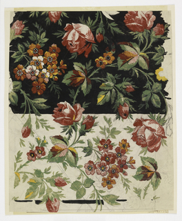 Red flowers and blossoms on green stems with leaves; upper section on black ground, lower section on cream ground.